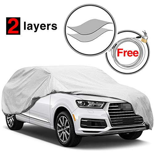 (KAKIT 2 Layers Car SUV Cover Windproof Dustproof Water Resistant Summer Outdoor UV Protection SUV Cover for car, Free Windproof Ribbon & Anti-Theft Lock, Fits 168