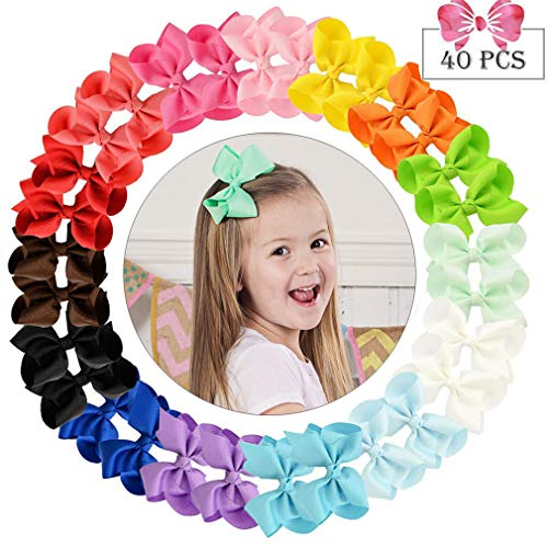40pcs Hair Bows for Girls 4 Big Boutique Bow Alligator Clips Grosgrain Ribbon Hair Accessories Toddlers Kids Teens