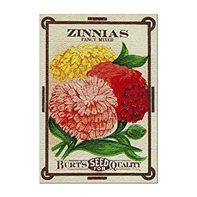 Zinnias - Vintage Seed Packet (Premium 500 Piece Jigsaw Puzzle for Adults, 13x19, Made in USA!): Toys & Games