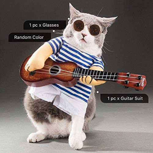 Dog Costume - Funny Pet Guitar Player Cosplay Dog Costume Guitarist Dressing Up Party Xmas Halloween New Year Clothes for Dog Cats Plus Wig ()