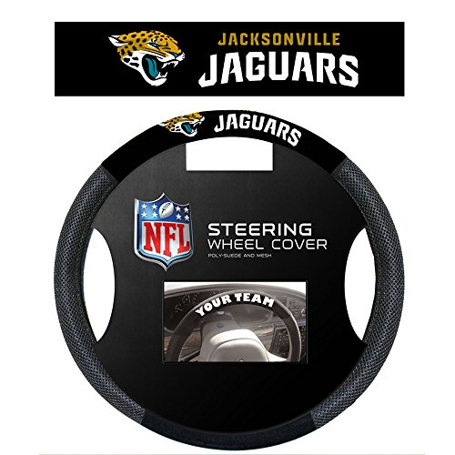 [NFL Jacksonville Jaguars Poly-Suede Steering Wheel Cover] (Jacksonville Jaguars Cover)