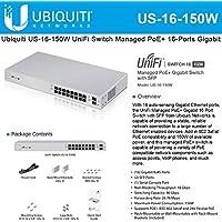 Ubiquiti US-16-150W UniFi Managed PoE+ 16-Ports Gigabit Switch with SFP, 150W