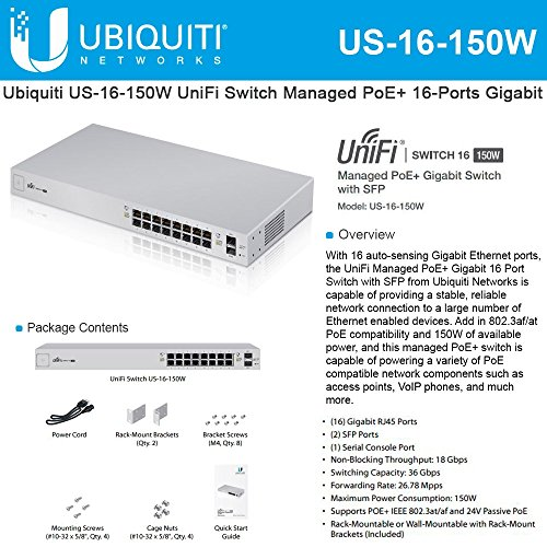 Ubiquiti US-16-150W UniFi Managed PoE+ 16-Ports Gigabit Switch with SFP, 150W by Ubiquiti Networks