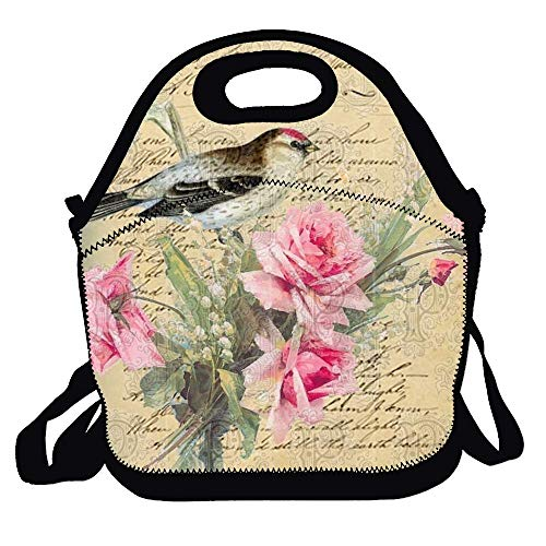 Amuseds Shams Bird Pretty Pink Blossoms Characteristic Lunch Bag Tote Handbag Lunch Boxes For Adults, Kids, Girls, And Women
