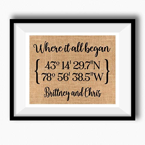 Wedding Invitation Time Frame - Where It All Began | Latitude Longitude GPS Coordinates | 100 percent Burlap or Canvas Anniversary Gift | Where We Met | Wedding Location