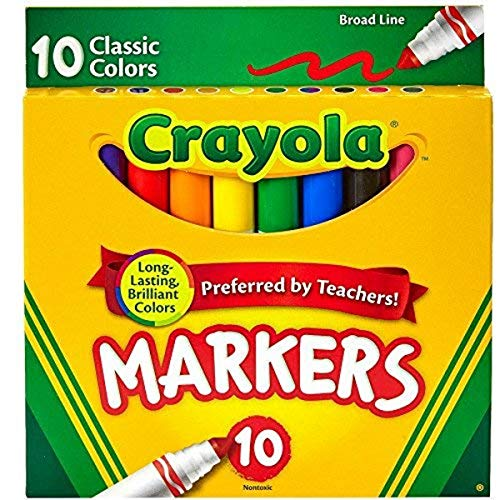 Marcadores de líneas anchas Crayola, colores clásicos, 10 cada uno (paquete de 6)