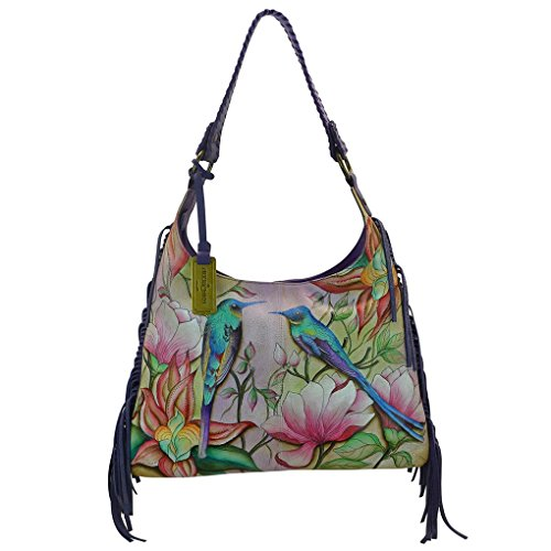 Anuschka Leather - Fringe Hobo Handbag -Handpainted, Tag & Purse Holder (Spring ()