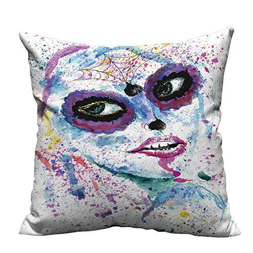 YouXianHome Household Pillowcase Halloween Girl with Sugar Skull Makeup,Watercolor Painting. Perfect for Travel(Double-Sided Printing) 31.5x31.5 -