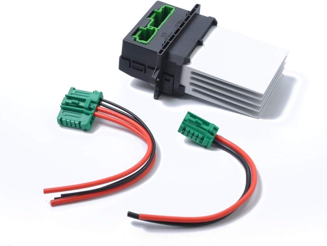 Turbocompresor Coche calentador del ventilador del ventilador Resistencia + Conector/Cable 6441.L2 7701207718, Apto for Citroen/Peugeot/Renault