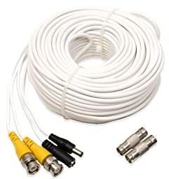 Q-See QS100B UL Rated E475392 Video and Power 100-Foot BNC Male Cable with 2 Female Connectors