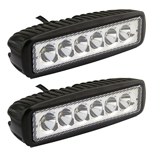 Flood LED Work Light oEdRo LED Light Bar 2pcs 6 Inch 18W LED Work Light Off Road Lights Car Boat Lights Fog Driving Light Lamp Compatible for UTE SUV 4X4 4WD ATV Jeep 3 Years Warranty