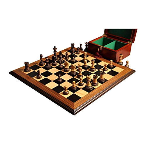 The Burnt Dubrovnik Series Chess Set, Box, & Board Combination - 3.75