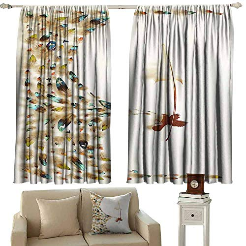 - Mannwarehouse Soft Curtain Bird Feather Art 70%-80% Light Shading, 2 Panels,63