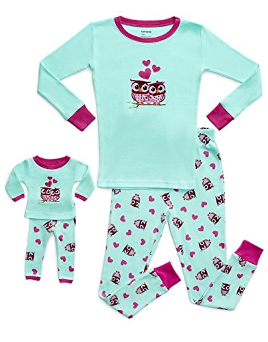 Leveret Kids & Toddler Pajamas Matching Doll & Girls Pajamas 100% Cotton Pjs Set (Owl,14 - Outfit Girl Doll