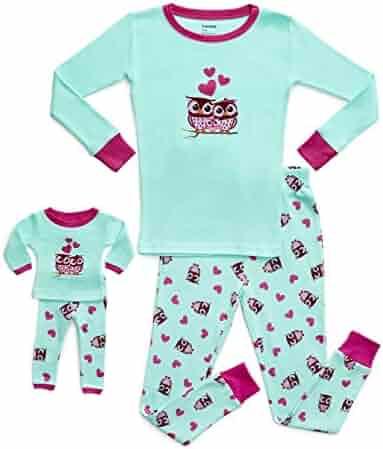 Leveret Kids & Toddler Pajamas Matching Doll & Girls Pajamas 100% Cotton Owl Pjs Set (Toddler-14 Years) Fits American Girl