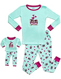 Kids & Toddler Pajamas Matching Doll & Girls Pajamas 100% Cotton Owl Pjs Set (Toddler-14 Years) Fits American Girl