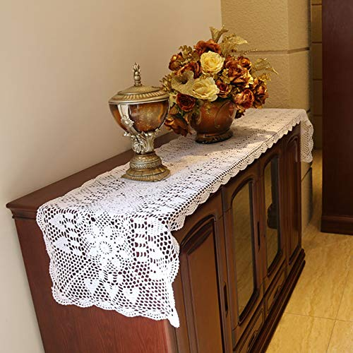 - Damanni Rectangular Cotton Handmade Crochet Lace Table Runner Doilies Table Dresser Scarf Décor,16 Inch by 63 Inch,White