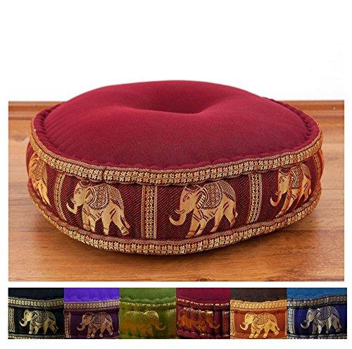 Zafukissen Seide mit Kapokfüllung, Meditationskissen bzw. Yogakissen, rundes Sitzkissen / Bodenkissen (rot / Elefanten)