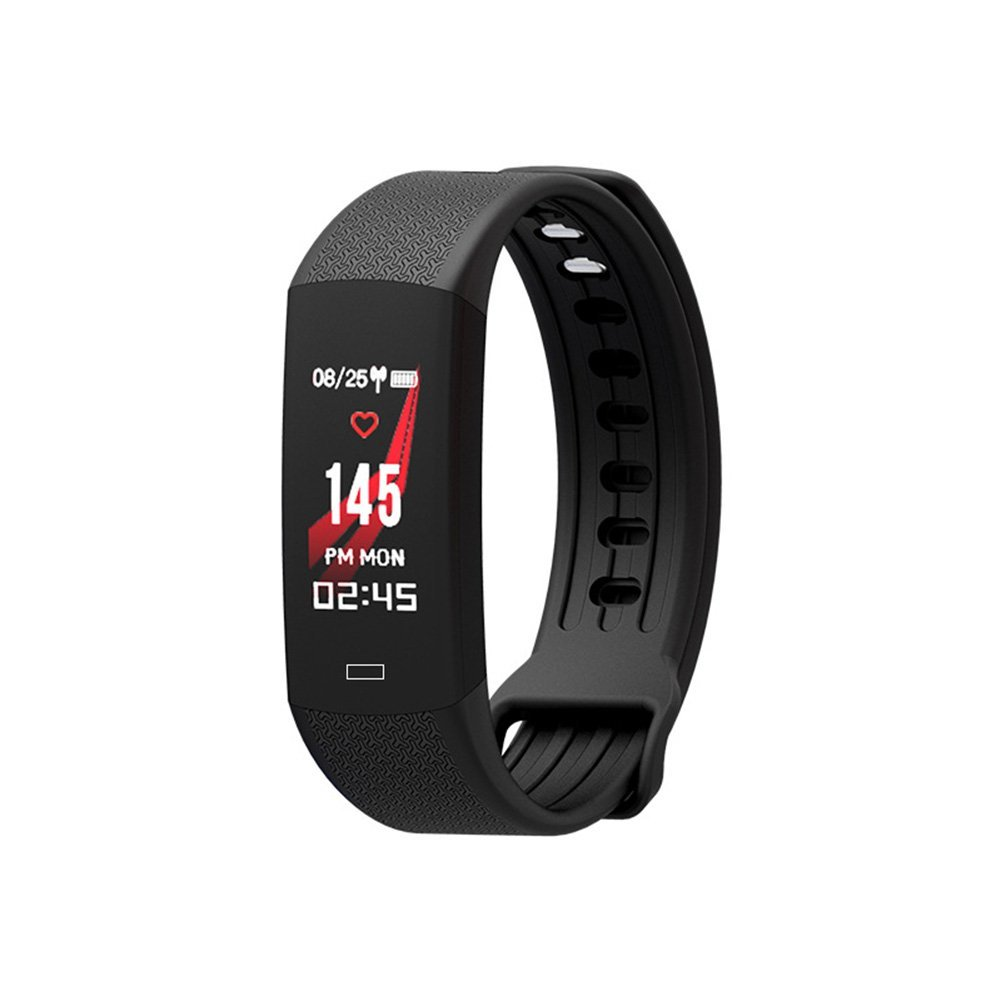 Smart Bracelet, Bluetooth Activity Tracker Heart Rate Monitor Alarm Clock Long Seat Reminder Self-Timer Watch for Android iOS (Black)