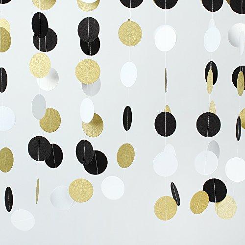 ZOOYOO-Glitter-Paper-Circle-Garland-Dots-Hanging-Decor-Circle-Event-Party-Supplies2-high98-feet-GoldBlackWhite