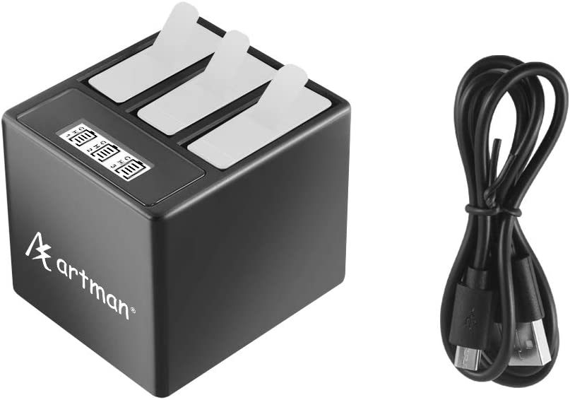 Artman Hero 8/7/6/5 3-Channel Box LCD USB Charger with Type-C Port (Without Battery Compatible with GoPro Hero 8 Black,Hero 7 Black,Hero 6 Black,Hero 5 Black, Hero 2018,AHDBT-501, AHBBP-501