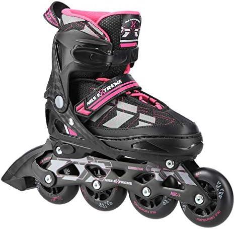 Inline skates Nils Extreme Harmony zwartroze ABEC7 maat 3134 3538 3942 verstelbaar