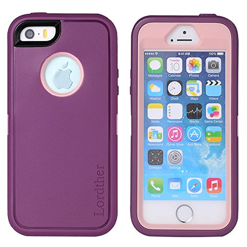 iPhone SE Case, Lordther [ShieldOn Series] [Military Grade Drop Test] [Heavy Duty] Silicone TPU Covers with [Bonus Screen Protector] Only for Iphone SE 5SE 5 5s (Aurora Violet Pink)