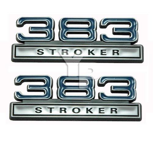 Chrome, Blue & Black 383 Stroker Fender Emblems - Universal Fitment 350 Stroker