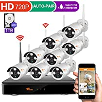Auto Pair 8ch 960P Dvr Wireless Surveillance Camera System with Wifi Night Vision 720P Cameras and 1TB Hard Drive Easy View by Ios or Android App