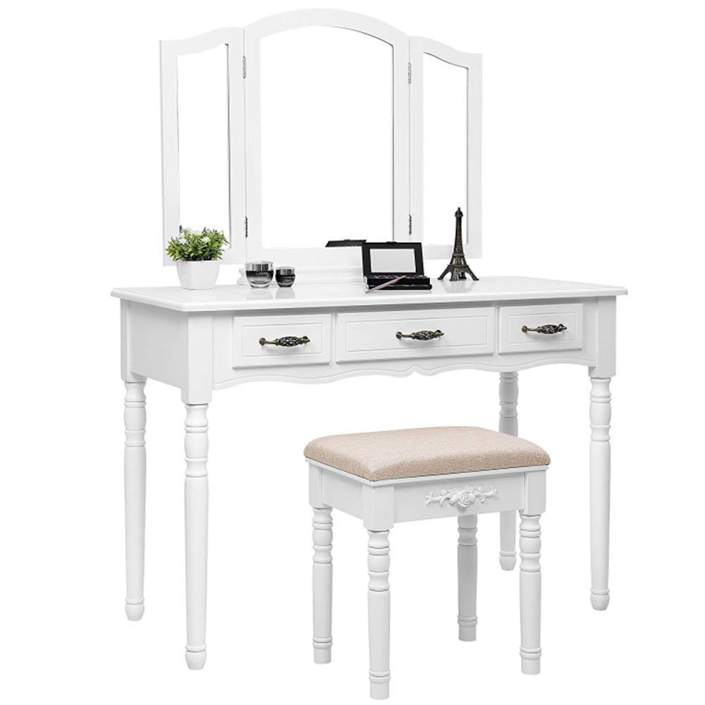 Amazon com dressing table with stool mirrors and drawers large rustic style make up table white kitchen dining