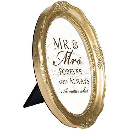 Mr And Mrs Forever And Always 6 x 8 Gold Tone Finish Oval Shaped Picture - Oval Shaped Frames