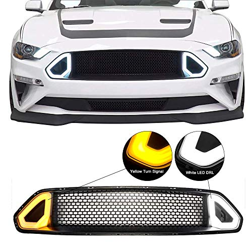 (Grille Fits 2018-2019 Ford Mustang | R Spec Front Bumper Upper Grille Hood ABS By IKON MOTORSPORTS)