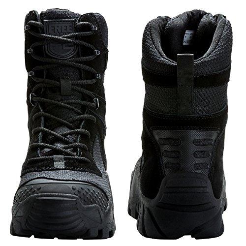 FREE Militaire à Randonnée à Homme Terrains Bottes Les Travail pour Top 3 SOLDIER de Couleurs Tactique Chaussures Tous Noir Lacets l'usure Résistante Combat High Bottes qPvwI4Pr
