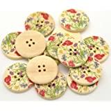 Pack of 10 Lovely Wild Flower Print Patterns, 4 Holes Round Wooden Buttons, for Sewing, Scrapbooking, Embelishments, Crafts, Jewellery making, shabby chic, Knitting, 30mm