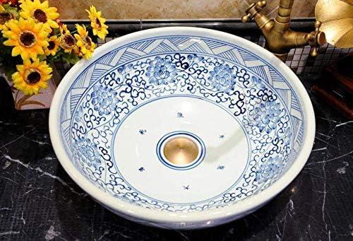 Yadianna 青と白の中国アンティークセラミックシンク中国の洗面台セラミックカウンタートップ洗面浴室シンクキャビネットバスルームのシンク