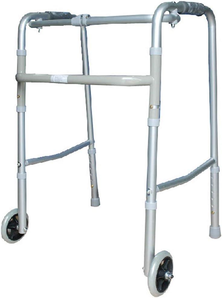 XY-YZGF Walker - andador sanitaria plegable de aluminio ligero con ruedas antideslizante bastón con el Hospital