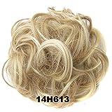 Hair Bun Updo Extensions Chignons Hair Piece Wig Scrunchy Scrunchie Hairpiece Ribbon Ponytail-Light Ash Brown & Bleach Blonde 14H613