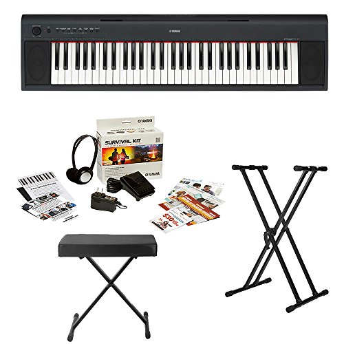 yamaha np 12 61 key ultra portable digital piano keyboard bundle with knox stand bench and. Black Bedroom Furniture Sets. Home Design Ideas