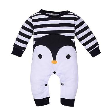 ef0b51b75 Mumustar Newborn Baby Romper Cartoon Penguin Stripe Cotton Infants ...