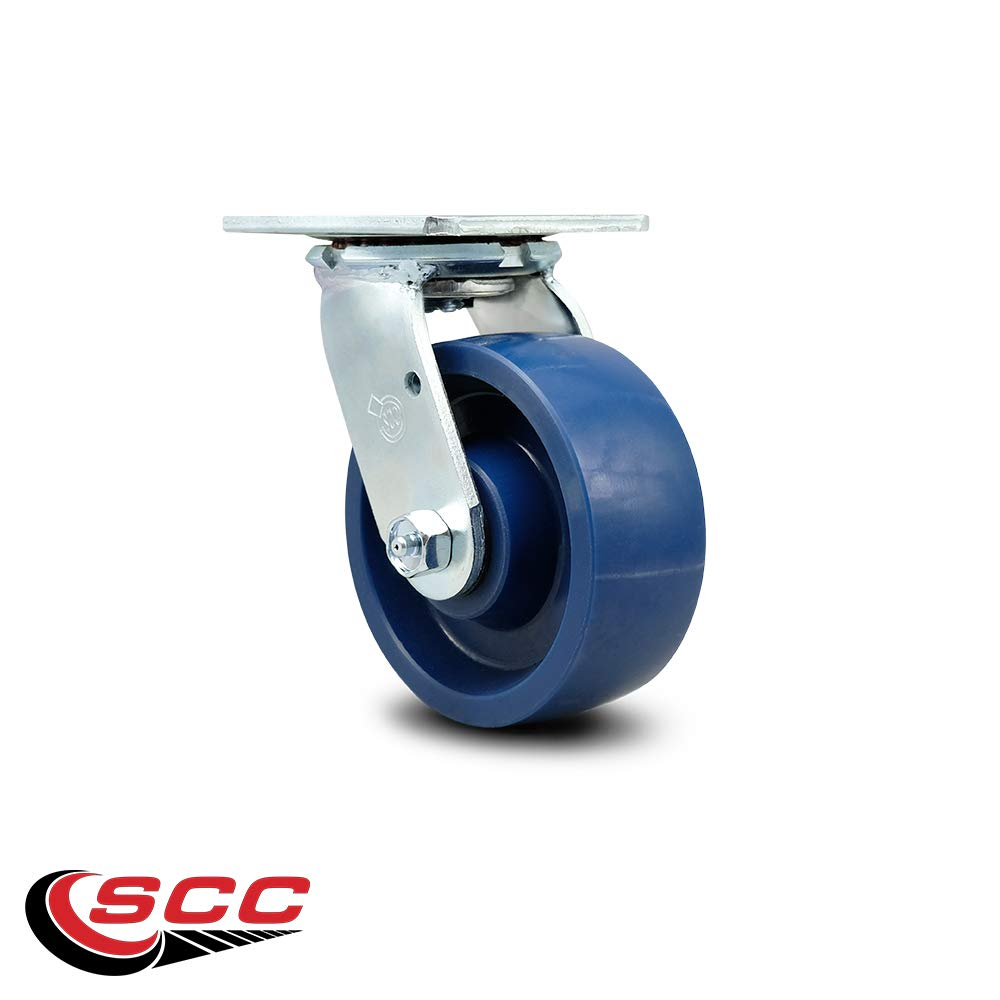 Service Caster - 5'' x 2'' Solid Polyurethane Wheel Swivel Caster - Blue - Non Marking - 1,000 Lbs/Caster