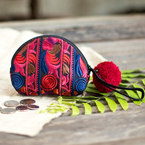 Changnoi Red Hmong Hill Tribe Embroidered Coin Purse for Women, Patchwork Coin Pouch, Mini Coin Purse with Pom Pom Zip Pull in Red
