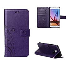 Galaxy S6 Wallet Case, with Fashion Floral Flip Cover for Samsung Galaxy S6 with Hand Strap& touch pen (dark purple)