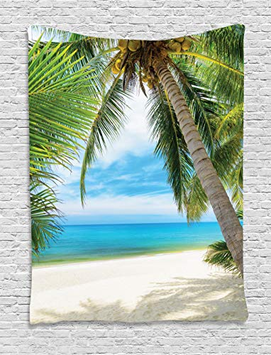 Ambesonne Ocean Tapestry, Shadow Shade of a Coconut Palm Tree on White Sandy Seashore Image, Wall Hanging for Bedroom Living Room Dorm, 40 W X 60 L Inches, Green Blue