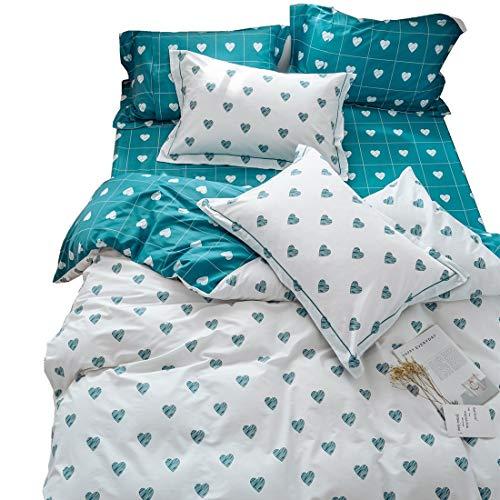 LAYENJOY Blue Love Heart Print Kids Duvet Cover Set Queen White Premium Cotton Bedding Set for Teens Boys Girls Reversible Comforter Cover Full, No Comforter