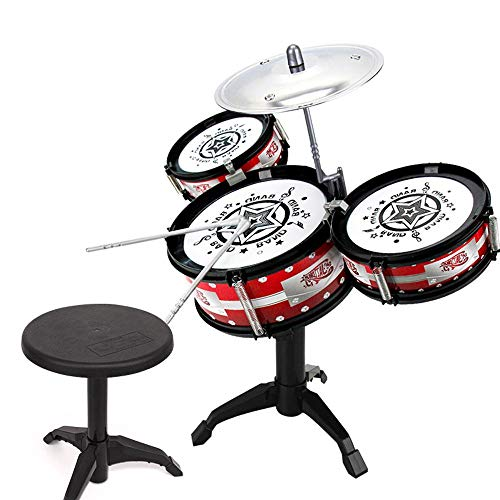 AOLVO Small Mini Kids Drum Set, Little Rockstar Kit Junior Drum Set ABS PVC Material 7Pcs Including Drums, Bracket, Chair, Drum Sticks Educational Jazz Toy Drum Set Snare Drum for Kids