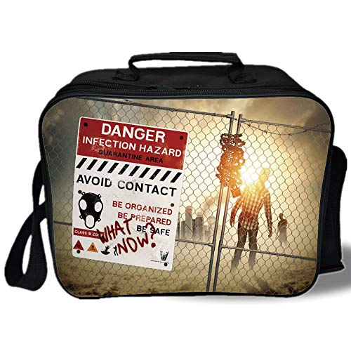 Insulated Lunch Bag,Zombie Decor,Dead Man Walking Dark Danger Scary Scene Fiction Halloween Infection Picture,Multicolor,for Work/School/Picnic, Grey]()