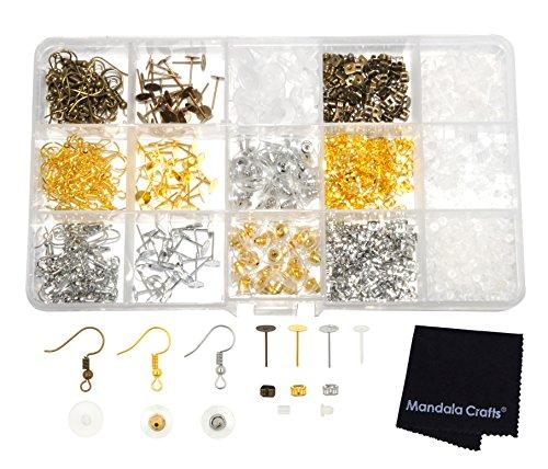Mandala Crafts Clasp Crimp Jump Ring Screw Back Earring Hook Jewelry Making Finding Supplies Clear Box Starter Kit (Earring Hooks Posts Backs)