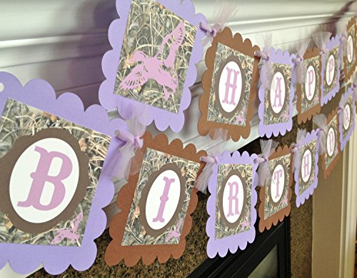 Duck Dynasty Inspired Happy Birthday Banner - Max 4 Camo Background & Lavender, Purple and Brown Accents - Party Packs Available