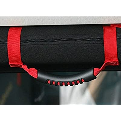 Bestong 4Pcs Grab Handles Roll Bar Grip Hand Holder for Jeep Wrangler YJ TJ JK JKU Rubicon Unlimited X 2/4 Door 1995-2020 Pillar Rear Side Rear Seat (Red, Long): Automotive