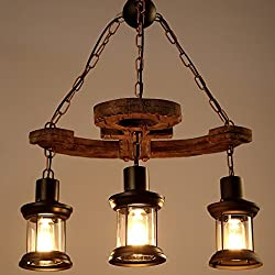 LightInTheBox 3 Heads Industrial Loft Style Amercian Countryside Vintage Wooden Chandelier Lamp Pendent Lighting Fixture for The Foyer/Coffee Room/Bar Decorate Pendant
